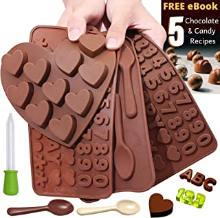 Chocolate Candy Silicone Mold Trays + Recipes eBook - Nonstick, BPA-Free - Make Chocolate Shapes, Gummy Candies, Hard Candy and Ice (ABC's, Numbers, Spoons and Hearts - 4 Trays)