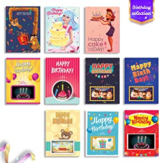 Birthday Cards 4D Flash Cards Augmented Reality Greeting Card Bundle - Funny Birthday Cards - Unique Designs Birthday Cards, 10-Count