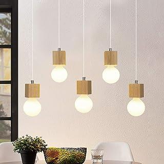 Lámpara colgante GBLY lámpara de mesa de comedor de 5 llamas de madera Lámpara colgante ajustable en altura de 150cm con enchufe E27 para comedor cocina sala de estar restaurante (sin bombillas)