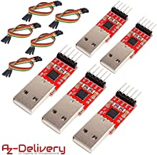 AZDelivery 3 x HW-598 CP2102 USB to TTL Serial Converter with Jumper Wire Cable Compatible with Arduino including E-Book!