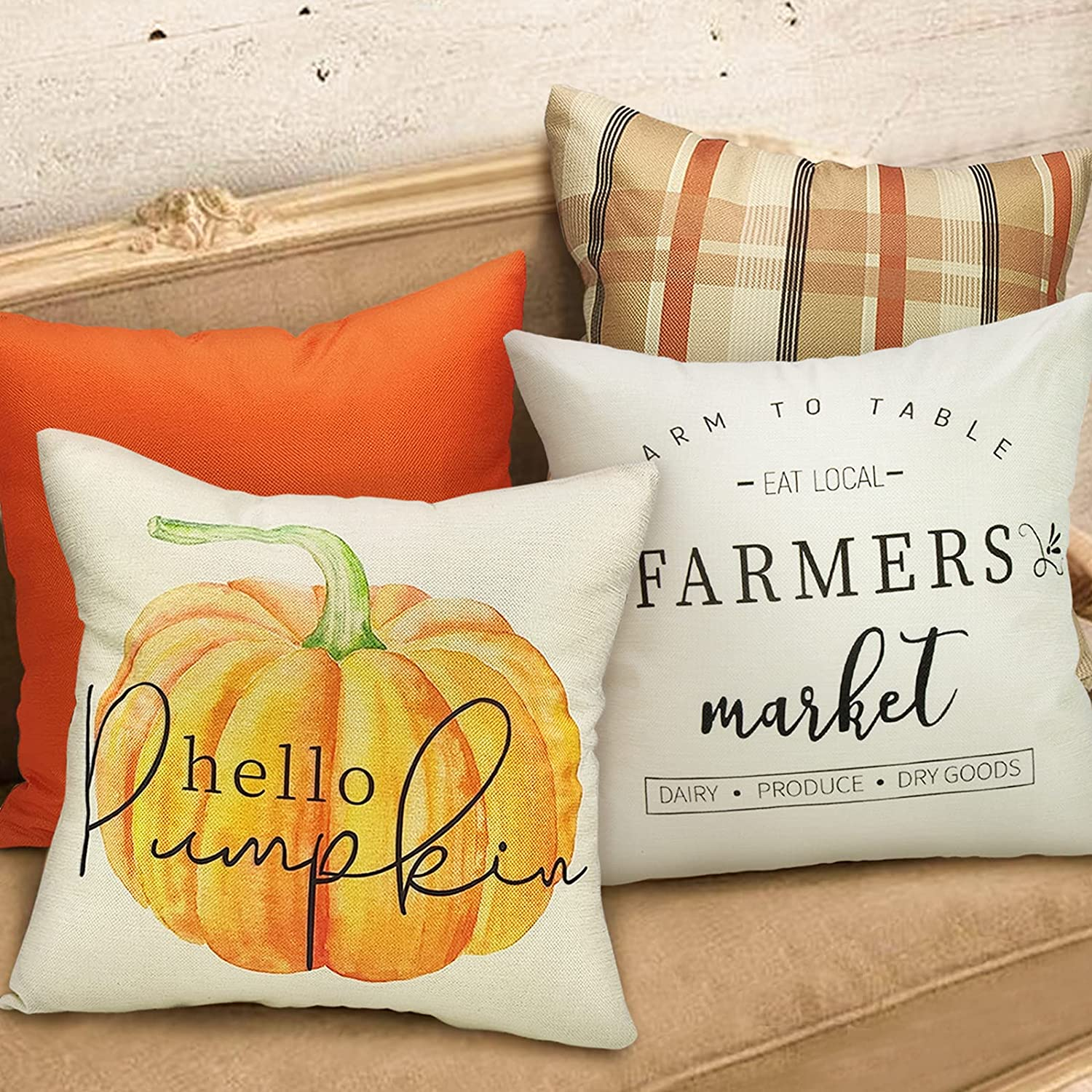 Fall Decor - Fall Pillow Covers - Fall Decorations for Home - 18x18 Set of 4 for Autumn Halloween Thanksgiving Harvest - Farmhouse Pumpkin Throw Pillows Decorative CushionCases
