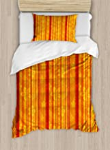 Ambesonne Orange Duvet Cover Set Twin Size Orange Yellow Decorative 2 Piece Bedding Set with 1 Pillow Sham Vertically Stripes Pattern with Flowers Swirled Leaves and Dots Design