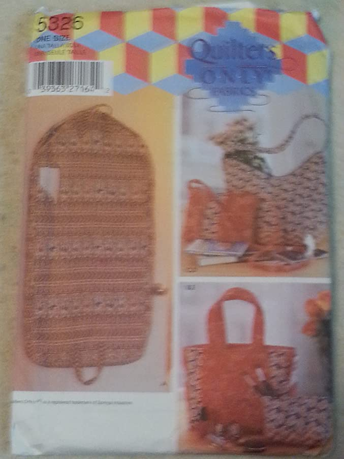 Simplicity 5326 Sewing Pattern Quilter's Only Purse Tote Garment Bags
