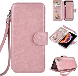 Humble Wallet Case Clutch Compatible with iPhone Xs Max 6.5 - Wristlet Case Boutique Quality Vegan Leather Rose Gold - with Card Holder Clutch Purse