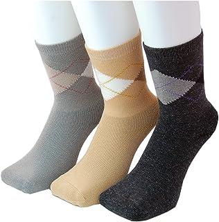 PAX-ASIAN 防寒ソックス セット 三層構造 さらさらあったか 靴下 婦人 アーガイル柄 3足組アソート (チャコール、キャメル、淡グレー) #773