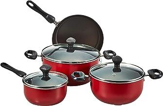 طقم اواني طهي من الالومنيوم، غير لاصق ومكون من 7 قطع من برستيج PR21568 - لون احمر، موديل 2724294146722