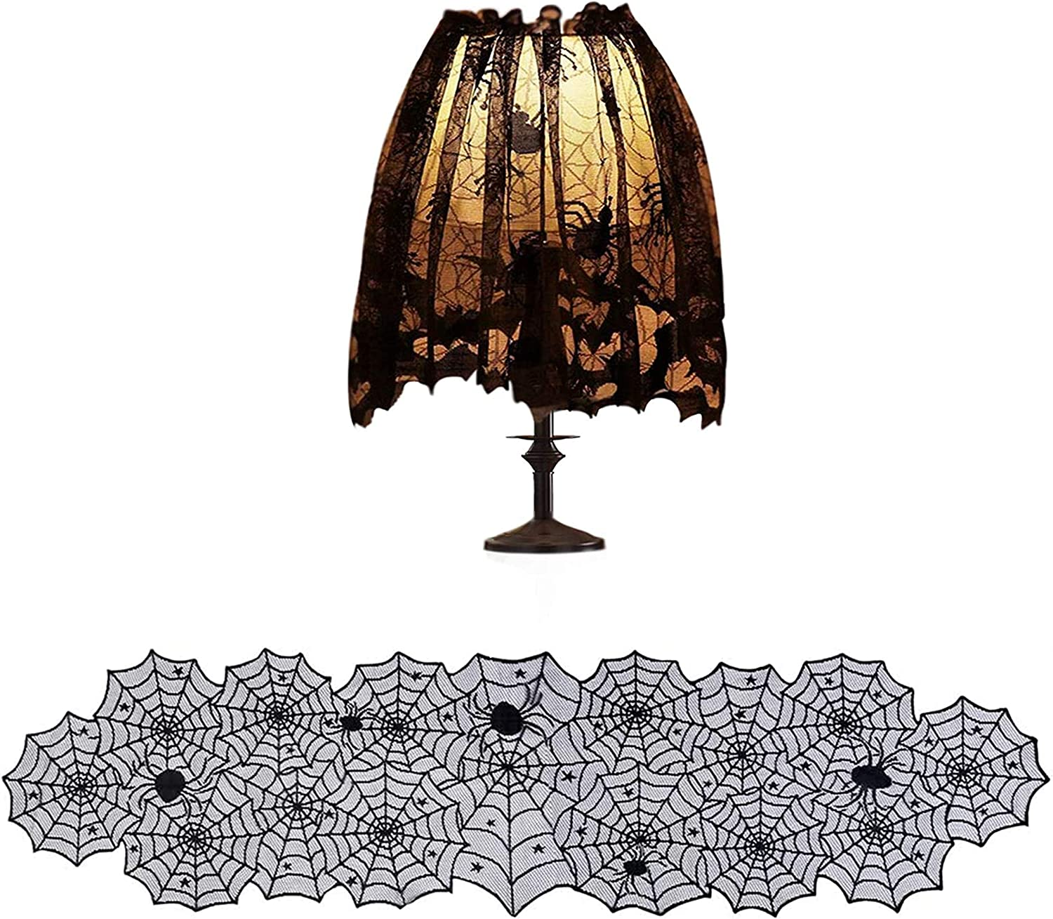 DECORJ 2 Pack Special sale item Halloween Decoration Party Festive T Lace Supplies 4 years warranty