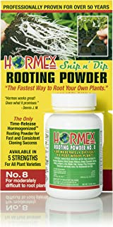 Hormex Rooting Hormone Powder #8   for Moderately Difficult to Root Plants   Fastest IBA Rooting Powder Compound for Strong & Healthy Roots