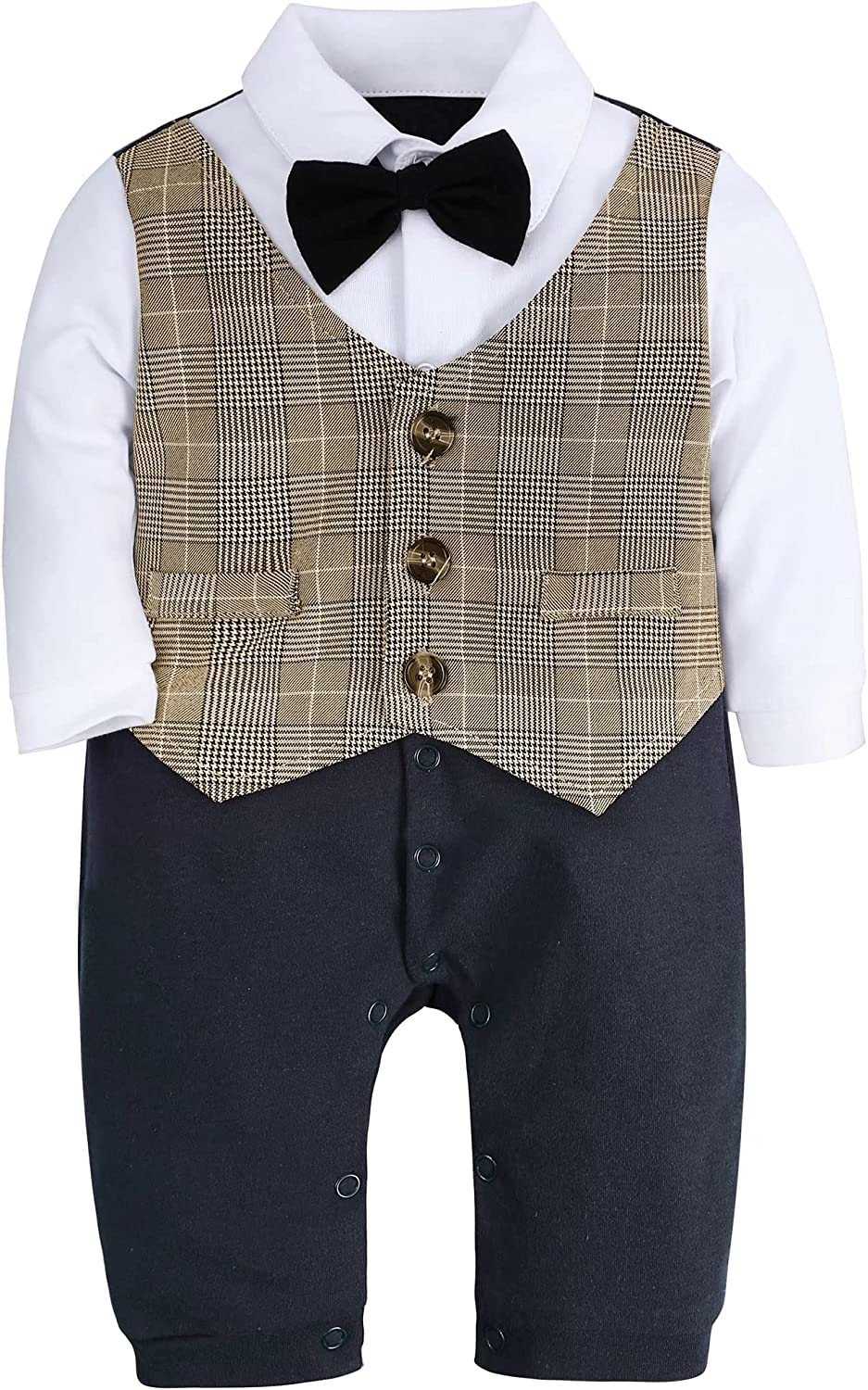 A&J DESIGN Baby Boys' Gentleman Rompers Tuxedo Outfits Suit with Bowtie