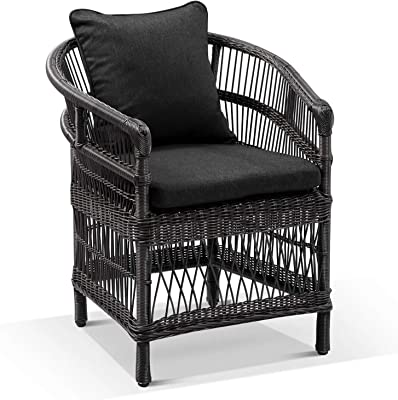 Malawi Outdoor Wicker and Aluminium Dining Chair - Charcoal W/Denim, Charcoal (Dark Grey) Wicker w/Denim Grey Cushions - Outdoor Aluminium Dining Settings, Outdoor Furniture - Bay Gallery Furniture