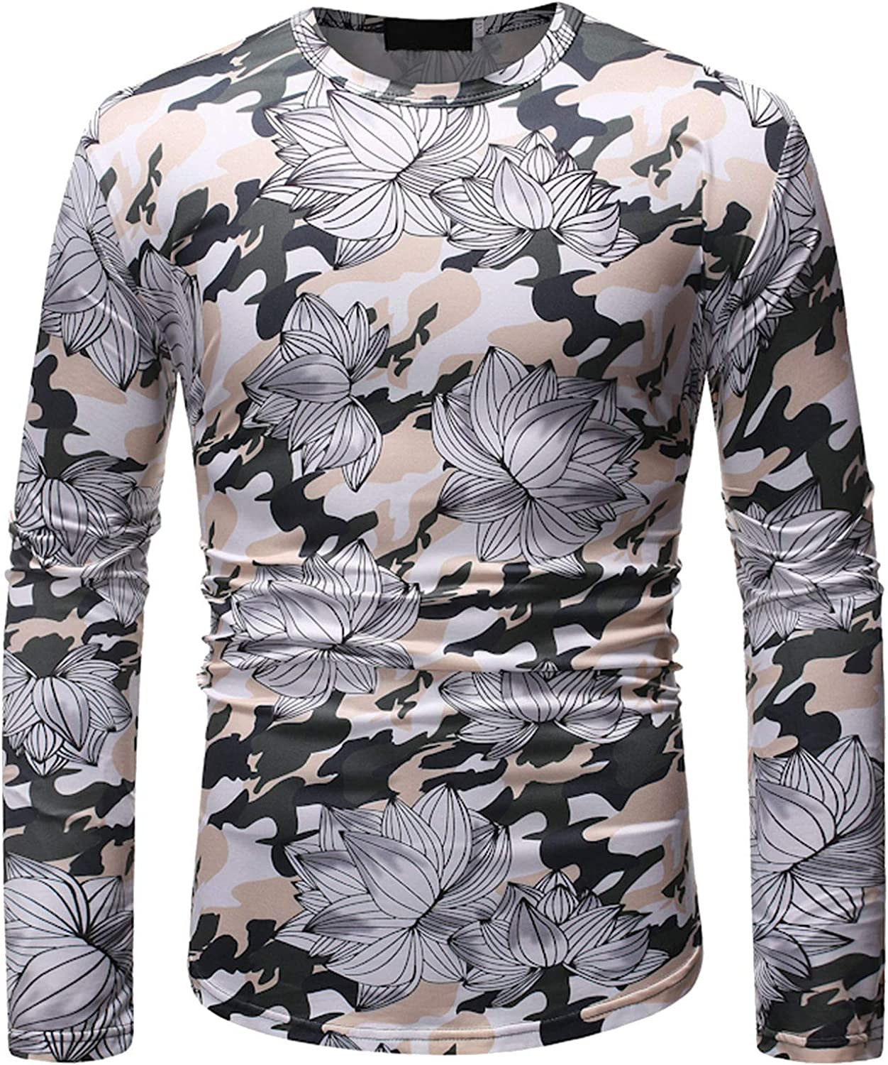 Casual Long Sleeve Shirts for Men Women Color Printed Shirts Spring Round Neck Fitness Tops Blouse for Men Women