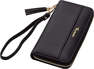 Travelambo Womens Wallet Tassel Bifold Ladies Cluth Wristlet Wrist strap Long Purse