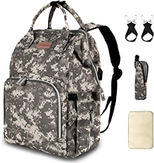 Diaper Bag Backpack with USB Charging Port Stroller Straps Insulated Pocket and Changing Pad, Camouflage