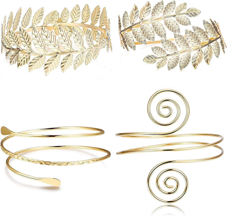 FUNRUN JEWELRY 4PCS Upper Arm Bracelet Cuff Victorian Filigree Swirl Gypsy Gold Plated Bangle Bracelet Open Armlet Leaf Armband Jewelry Set