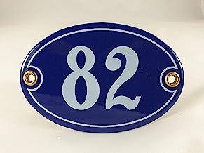 Emaille huisnummerbordje nr. 82, ovaal, blauw-wit Nr. 82 Blau-Weiß + Schrauben und Dübel