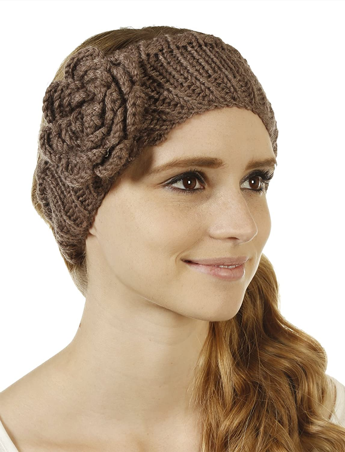 FHn Love Women's Cold Weather Headband with Rose Embellishment Mocha