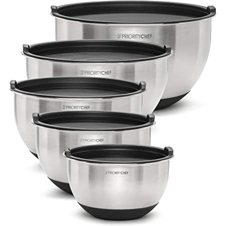 PriorityChef Premium Mixing Bowls With Lids, Inner Measurement Marks and Thicker Stainless Steel 5 Pc Bowl Set, Sizes 1.5/2/3/4/5 Qt