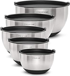PriorityChef Premium Mixing Bowls With Lids, Inner Measurement Marks and Thicker Stainless Steel 5 Pc Bowl Set, Sizes 1.5/...