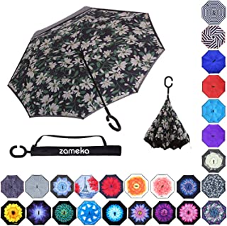 Z ZAMEKA Double Layer Inverted Umbrellas Reverse Folding Umbrella Windproof UV Protection Big Straight Umbrella Inside Out Upside Down for Car Rain Outdoor with C-Shaped Handle, Lily