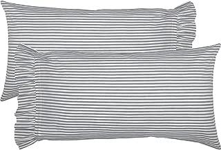 VHC Brands Farmhouse Bedding Sawyer Mill Ticking Cotton Striped King Pillow Case Set of 2, Blue Denim