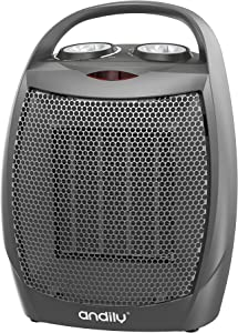 andily Portable Space Ceramic Heater with Adjustable Thermostat, Energy Save Technology , Great for Use in Home and Office, 4 Modes 750W/1000W/1500W