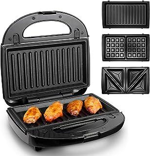 Appareil Croque Monsieur 3 en 1, Homever Machine a Gauffres, Sandwichs, Grill, Panini pour Petit Déjeuner, 750W, 3 Plaques...