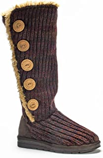 Women's Malena Red Marl Button Up Winter Boot