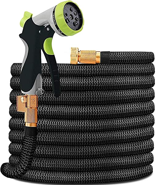 HYRIXDIRECT Garden Hose Lightweight Durable Flexible Water Hose With 3 4 Nozzle Solid Brass Connector And High Pressure Water Spray Nozzle Expanding Hoses 50 FT
