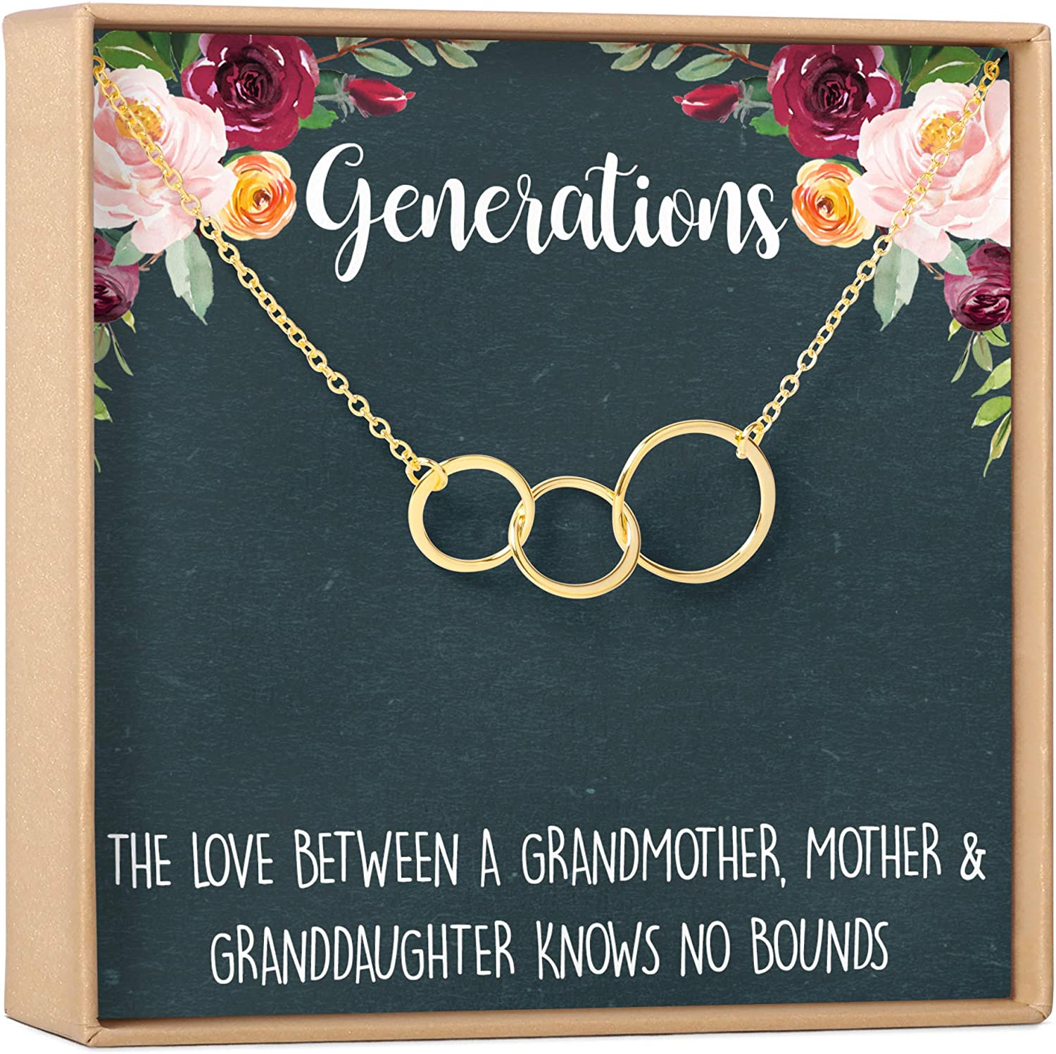 Generations Gift Necklace for Mom Cheap Max 89% OFF mail order shopping Grandmother Granddaughter
