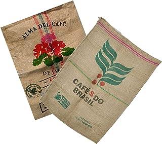 Sacos de Yute Grande de Café Reciclados – Ideal para Decoracion y Jardineria - 100% Natural Ecológico Arpillera Vintage – Pack de 2 Unidades de 70X100 Varios Diseños.