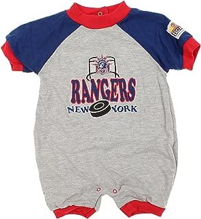 Mighty Mac New York Rangers NHL Baby Boys Infant Puck & Net Retro Romper, Grey