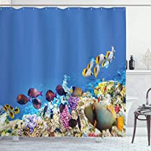 Ambesonne Ocean Decor Collection, Multicolored Fish Schools Swimming between Submerged Ancient Coral Reefs Nature Marine World Print, Polyester Fabric Shower Curtain, 75 Inches L, Blue Yellow Lilac