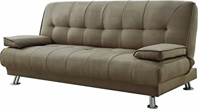 Amazon Com Convertible Sofa Bed With Removable Armrests Brown