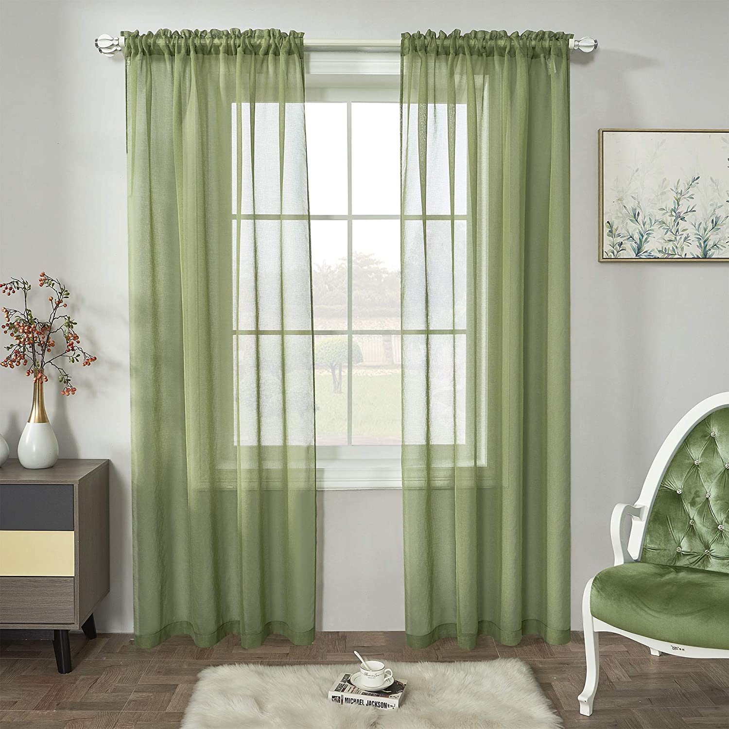 Sage Green Semi Max 54% Luxury goods OFF Sheer Curtains Window Linen P Faux Curtain
