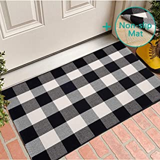 [With Anti-Slip Mat] Buffalo Plaid Rug/Mat, 27.5'' x 43''Check Rug with Anti-Slip Mat Black and White Cotton Hand-Woven Reversible Washable Outdoor Rugs for Layered Door Mats Porch/Front Door/Farmhous