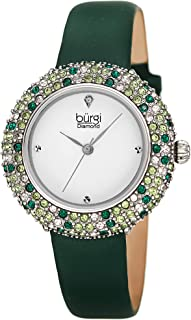 Swarovski Colored Crystal Watch - A Genuine Diamond Marker on a Slim Leather Strap Elegant Women's Wristwatch - Mothers Day Gift - BUR227