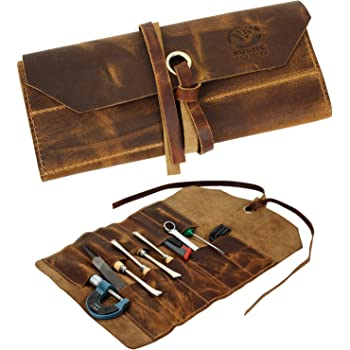 Leather Tool Roll Up Pouch - Leather Tool Wrench Roll/Chisel Bag by Rustic Town