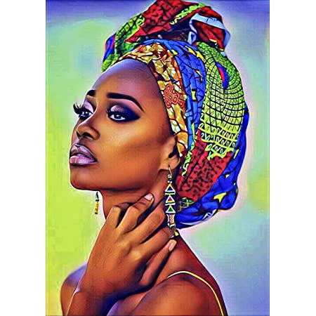 5D Diamond Embroidery Kits for Adults Kids DIY Full Diamond Art Kits African Lady Painting by Numbers Cross Stitch Kits Diamond Puzzles for Office Home Wall Decor12x16 inches