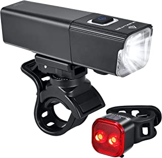 iKirkLiten 2019 Upgraded 800 Lumens Bike Light USB Rechargeable, LED Bicycle Headlight Front and Back Rear Tail Lights, IPX6 Waterproof, Easy to Install for Men Women Kids Cycling Safety Flashlight