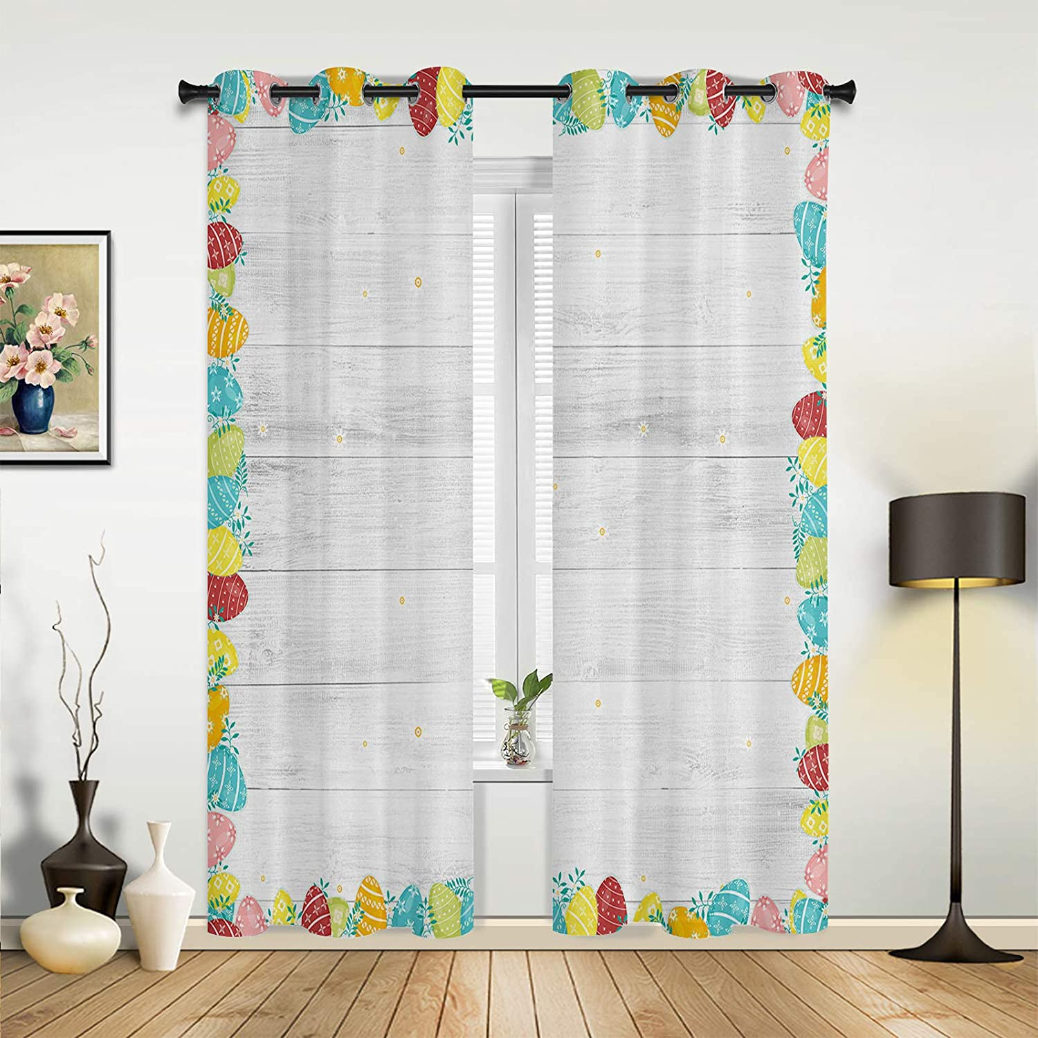 Window Sheer Curtains National products for Bedroom Living Easter Egg B Max 52% OFF Room Happy