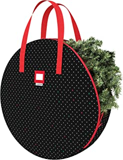 "CLOZZERS Christmas Wreath and Garland Bag with Durable Zippered Closure and Sturdy Handles, for Wreaths up to 30"" Inches, Heavy Duty, Tear Proof and Water Resistant, Black Tree Print"