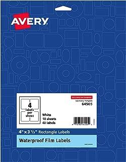 Avery Printable Waterproof Labels - Branding, Lotions, Soaps, Gels, Bath Salts, 4