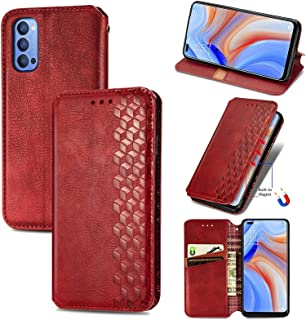 Mobile Phone Case Covers Compatible for OPPO Reno 4 4G Cubic Grid Pressed Horizontal Flip Magnetic PU Leather Case with Ho...