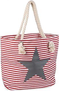 styleBREAKER Strandtasche in Streifen Optik mit Stern, Schultertasche, Shopper, Damen 02012037, Farbe:Rot-Weiß/Grau
