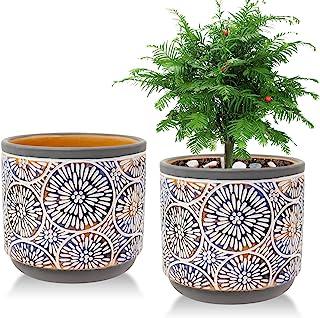 2 Pack Ceramic Plant Pots, Vivimee 5 Inch Flower Pot Set, Planter Set with Drainage Hole for Indoor Plants, Cactus, Succul...