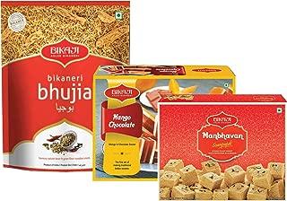 Bikaji - Indian Diwali Festive Gift Box - Diwali Special Sweets & Snacks - Mango Chocolate Mithai, Manbhavan Soan Papdi Sweet & Bhujia Snacks