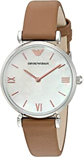 Emporio Armani Gianni T-Bar Women's White Dial Leather Analog Watch - AR1988