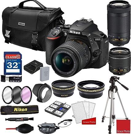 $669 Get Nikon D5600 DSLR Camera with AF-P 18-55mm and 70-300mm Zoom Lenses + Nikon DSLR Camera Case + 32GB Memory Bundle (25pcs)