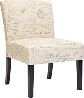Red Hook Giada Contemporary Upholstered Armless Accent Chair - Script-Style Print
