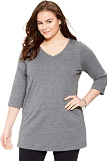 Women's Plus Size Perfect V-Neck Three-Quarter Sleeve Tunic